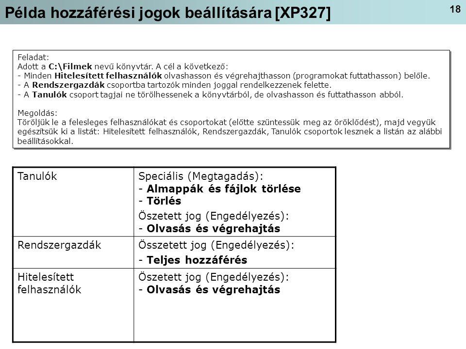 Példa hozzáférési jogok beállítására [XP327]